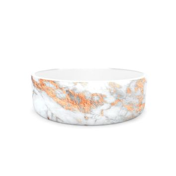 "KESS Original ""Rose Gold Flake"" White Pink Pet Bowl - Outlet Item"