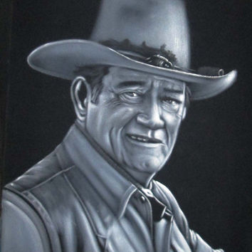 ON SALE Black and white John Wayne badass cowboy legend black velvet oil painting handpainted signed art
