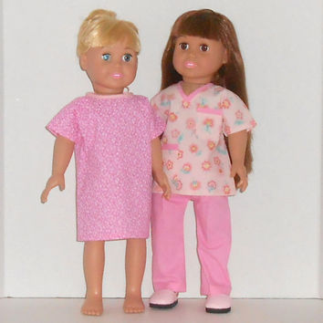 American Girl Doll Clothes Pink Medical Nurse Scrubs with or without Patient Hospital Gown