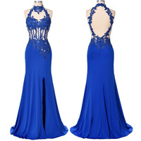 Mermaid Prom Dresses Grace Karin Halter Sexy Hollow Back See Through Royal Blue Side High Split 2016 Prom Dresses Mermaid