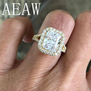 AEAW 4.5ctw Center 10x8mm Radiant Cut Moissanite Engagement Ring Real 14K Yellow Gold Diamond Fine Jewelry For Women