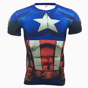 Summer 2016 Men Compression Shirt 3D Marvel Superhero Punisher Captain America Superman T Shirt Fitness Tights Base Layer Shirts