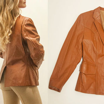 """Vintage Caramel Faux Leather Blazer Jacket   Womens S Small M Medium Tan Camel Brown Leather 70s 80s """"Pleather"""" Vegan Leather Jacket"""