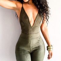 Sexy V-neck Spaghetti Strap Backless Jumpsuit = 5893079809