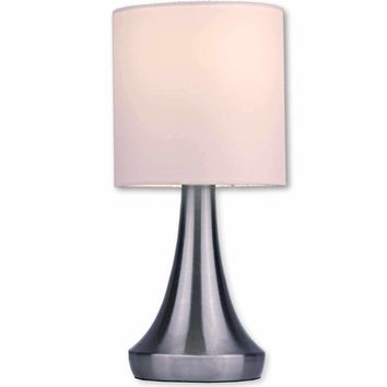 "Touch Table Lamp Modern 13"" Tall,Touch Dimmer (Low, Medium, High, and Off) Feature and White Fabric Drum shade"