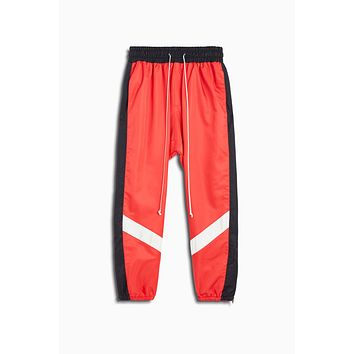 parachute track pant ii / red + black + ivory