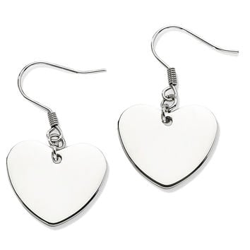 Stainless Steel Glossy Heart Dangle Earrings