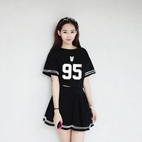 BTS KPOP Bangtan Boys Dress child Periphery piece Women 2016 New Sale Cotton white and Black Dress Sweet letters printing