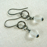 Black and White Everyday Earrings, White Sea Glass Drops with Gunmetal Black Casual Earrings, Every Day Earrings, Black Hoop Earrings