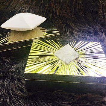 Silver Sunburst Boxes with Choice of Faceted White Marble or Quartz Crystal Pyramid.
