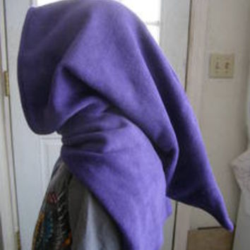 long Elven Wizard Hoodie Scarf costume cosplay Hat Green Goblin Hood purple WOW