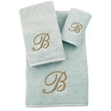 Soft twist Monogrammed Towel Set |aqua