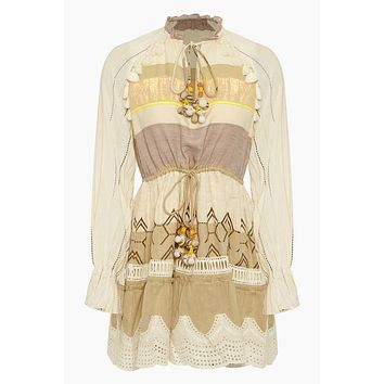 Chiffon Tassel Long Sleeve Mini Dress - Mana Beige