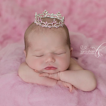 Newborn rhinestone crown pink mini crown newborn tiara pink crown newborn photo