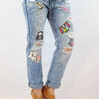(ank) Boyfriend Patch Denim Jeans