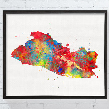 El Salvador Map, El Salvador Art Print, El Salvador Poster, Travel Print, Map Poster, Watercolor Map, Framed Art, Geography, Country Map