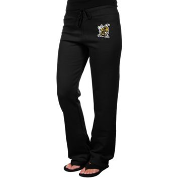 West Virginia State Yellow Jackets Ladies Logo Applique Sweatpants - Black