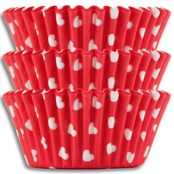 Red & White Hearts Baking Cups