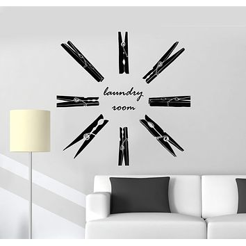 Vinyl Wall Decal Laundry Room Service Clothespins Art Decor Stickers Mural Unique Gift (ig5095)