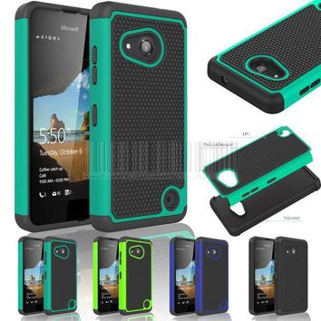 Hybrid Rugged Heavy Duty Impact Protective Case Silicone Hard Shockproof Cover For Nokia Microsoft Lumia 550 With/without Films