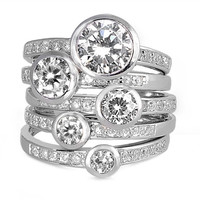 .925 Cubic Zirconia Accent Stacked Look Ring