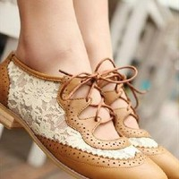 lace flower flat shoes from bebpilooo