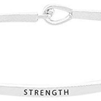 Inspirational Bracelet STRENGTH Positive Quote Message Mantra Cuff Bangle  Motivational Jewelry Gifts for Women amp Teen Girls