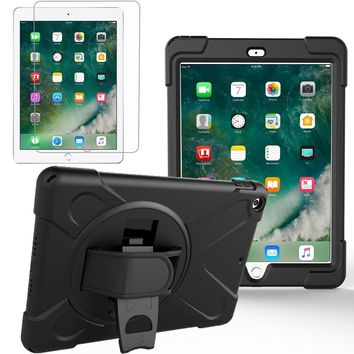 Rugged Kickstand Armour Shockproof Case For new ipad 9.7 2017 with Screen Protector with 360 Degree Rotatable Hand Strap