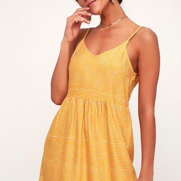 Nolan Mustard Yellow Print Dress