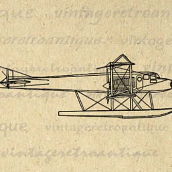Seaplane Airplane Graphic Image Printable Biplane Digital Plane Download Antique Clip Art Jpg Png Eps  HQ 300dpi No.1035