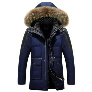 Long Big Fur Collar Hooded Men's Down Jackets Thicken Warm Winter Hooded Coat Men