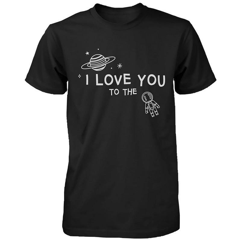 d9d8ca4478 I Love You to the Moon and Back Cute Couple T-Shirts Black and White  Matching Tees