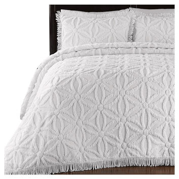 Twin Size 100% Cotton Chenille Bedspread in White Floral Pattern with Fringed Edges