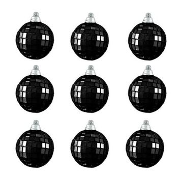 "9ct Jet Black Mirrored Glass Disco Ball Christmas Ornaments 2.5"" (60mm)"
