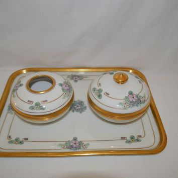 Three Piece Dresser  / Vanity Set ~ Porcelain ~ Hand Painted with Purple, Blue & Pink Flowers ~ Art Nouveau ~ Pickard Studios Chicago Il 1912-1918
