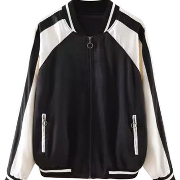 Black and White Back Fish Pattern Bomber Jacket