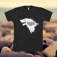 Winter Is coming House Stark Game of Thrones design clothing for T-shirt mens and T-shirt girls