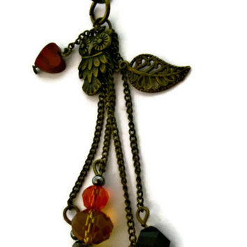 Antique Brass Mixed Media Pendant or Brooch Owls and Butterflies Dangle Charm