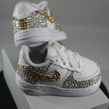 Custom Bling Air Force Ones- Bling Tennis Shoes- Bling & Pearls- Baby Bling Nikes- AF1