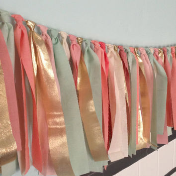 """Multicolored Springtime Hand dyed Fabric """"rag"""" garland in mint seafoam green, coral peach, pink blush and gold"""