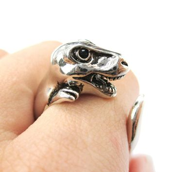 Dinosaur T-Rex Prehistoric Animal Wrap Around Hug Ring in Shiny Silver | US Size 4 to 9