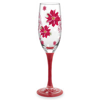 Poinsettia Hand-Decorated Champagne Flute