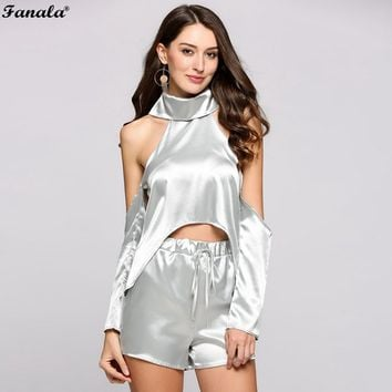 FANALA 2017 Women Suits Two Piece Set Summer Suit Sexy Cold Shoulder Halter Cut-Out Sleeve Crop Top Drawstring Shorts Silver#30