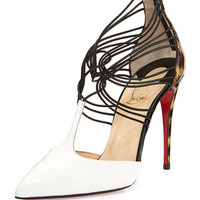 Christian Louboutin Confusa T-Strap Leather Red Sole Pump, White/Black