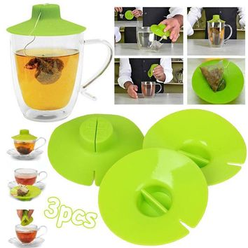 3Pcs/Set Tea Bag Buddy Cup Lid Cover Resistant Kitchen Supply Tools Green Gadget