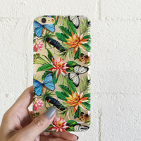 "Clear Plastic Case Cover for iPhone 6 (4.7"") Tropical Butterfly"