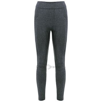 Sports Elastic Waist Solid Color Women's Leggings