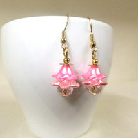 Pretty Pink Flower Dangle Earrings, Flower Earrings, Pink Earrings, Pink Crystal Earrings, Gift, Women's Gift, Girls Gift