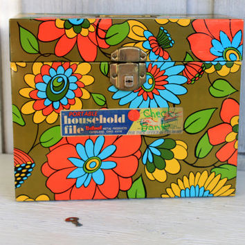 mod metal file box // flower power // vintage office // 1960s - 1970s