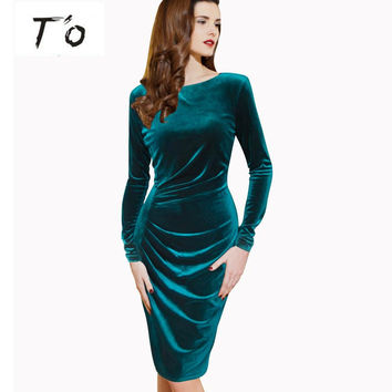 Women Winter Graceful Long Sleeve Velvet Ruched 4XL Formal Casual Office Prom Party Stretch Bodycon Fitted Warm Dress 50